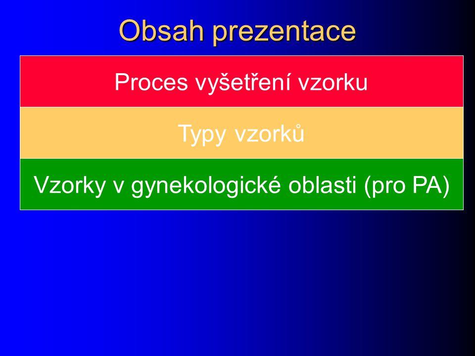 Obsah prezentace Proces vyšetření vzorku Typy vzorků