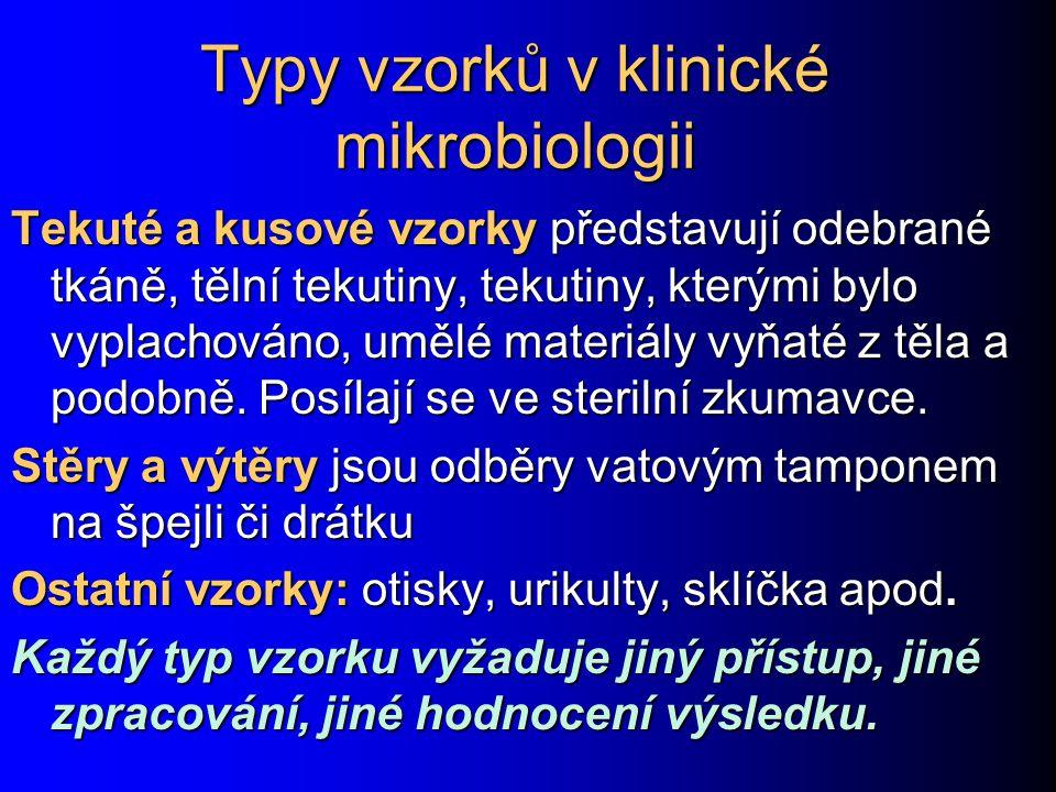 Typy vzorků v klinické mikrobiologii