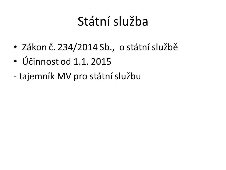 Státní služba Zákon č. 234/2014 Sb., o státní službě
