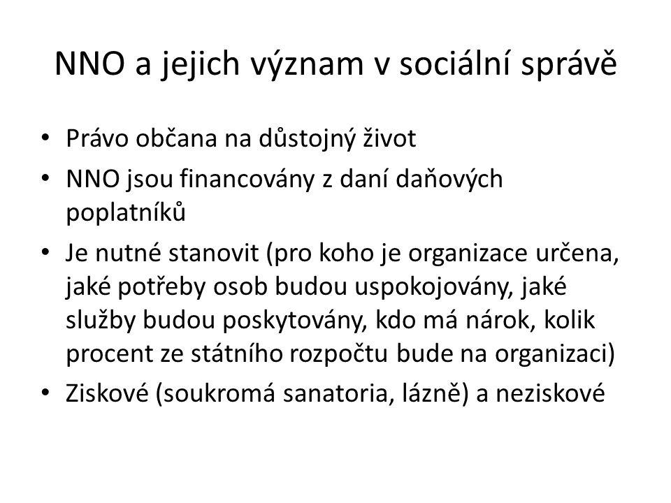 NNO a jejich význam v sociální správě