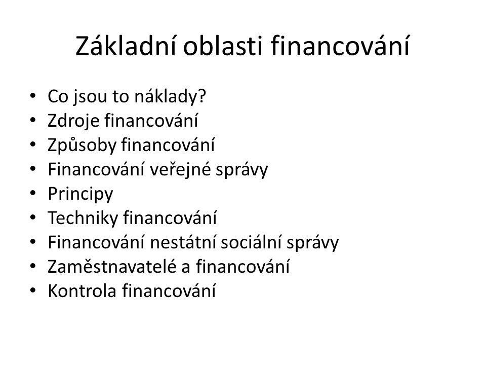 Základní oblasti financování