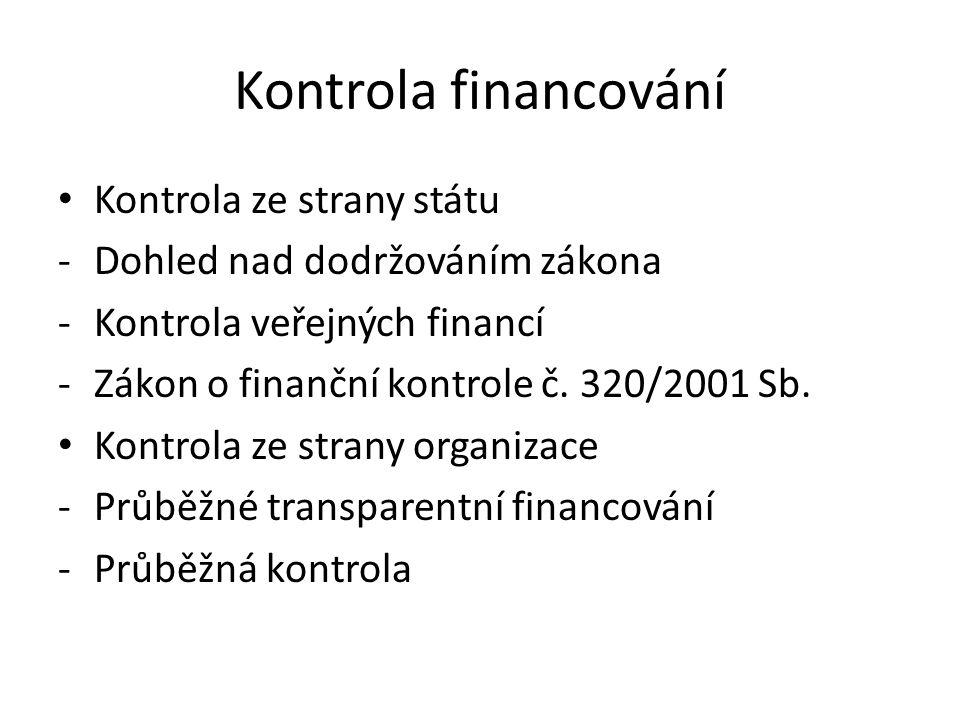 Kontrola financování Kontrola ze strany státu
