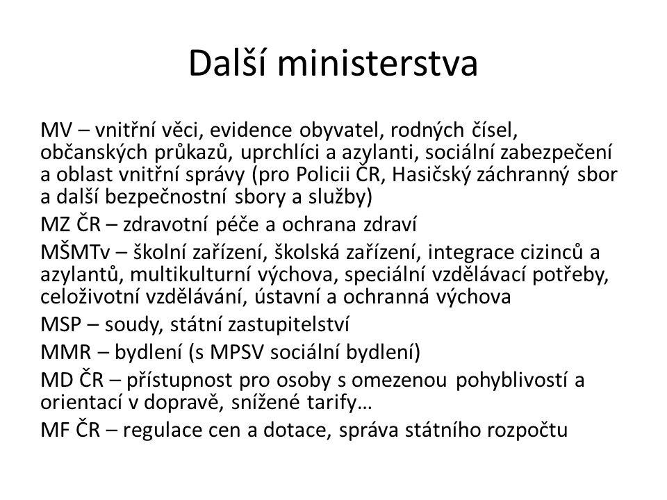 Další ministerstva