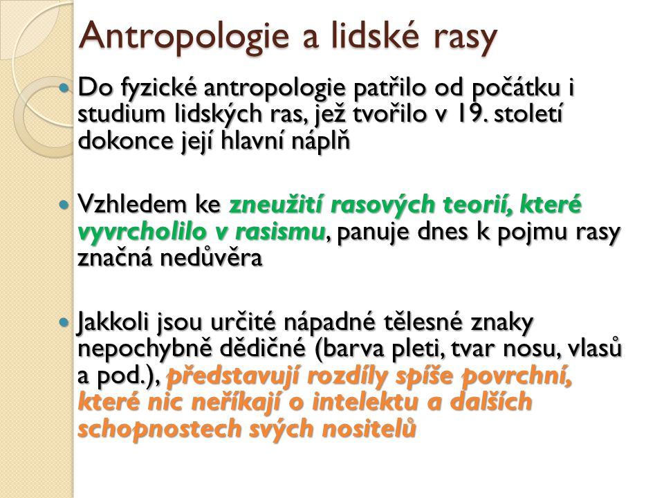 Antropologie a lidské rasy
