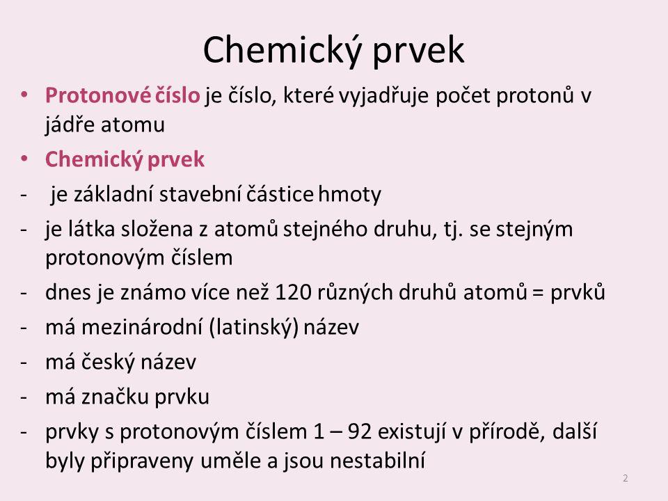 Chemický prvek Protonové číslo je číslo, které vyjadřuje počet protonů v jádře atomu. Chemický prvek.