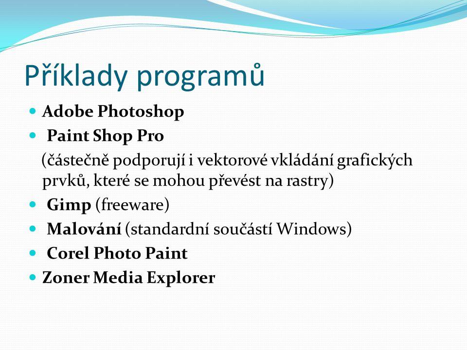 Příklady programů Adobe Photoshop Paint Shop Pro
