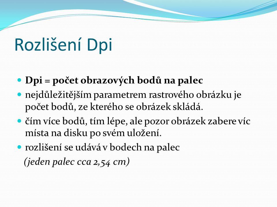 Rozlišení Dpi Dpi = počet obrazových bodů na palec