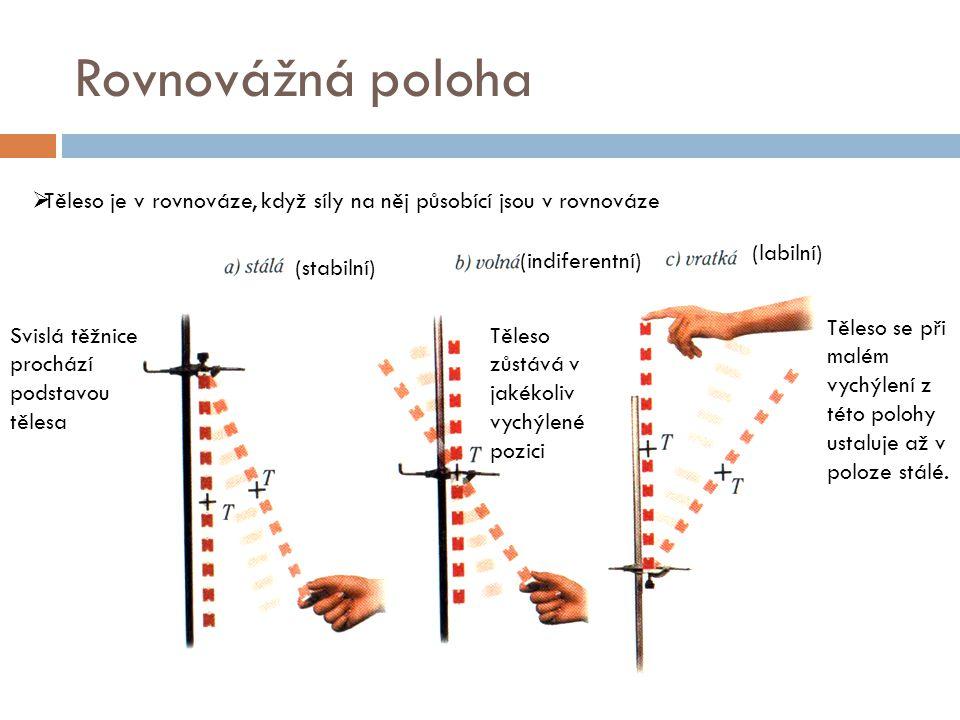Rovnovážná poloha Těleso je v rovnováze, když síly na něj působící jsou v rovnováze. (labilní) (indiferentní)