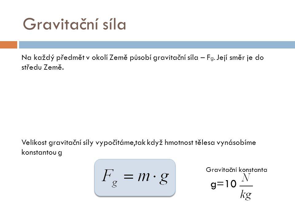 Gravitační síla Na každý předmět v okolí Země působí gravitační síla – Fg. Její směr je do středu Země.