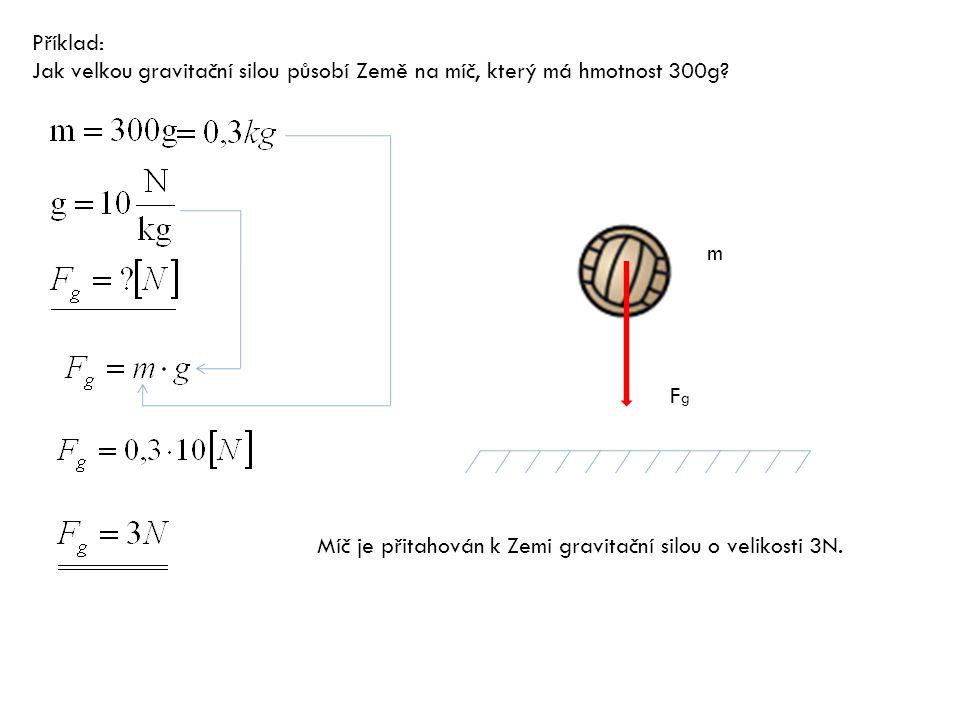 Příklad: Jak velkou gravitační silou působí Země na míč, který má hmotnost 300g.