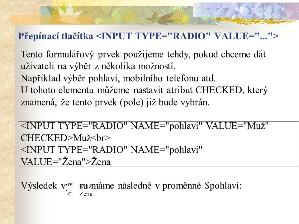 Přepínací tlačítka <INPUT TYPE= RADIO VALUE= ... >