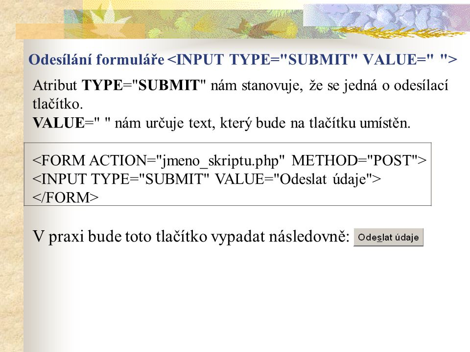 Odesílání formuláře <INPUT TYPE= SUBMIT VALUE= >