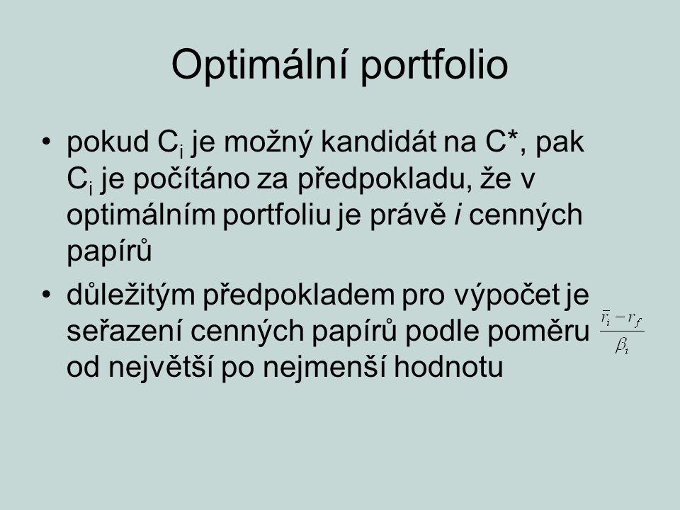 Optimální portfolio pokud Ci je možný kandidát na C*, pak Ci je počítáno za předpokladu, že v optimálním portfoliu je právě i cenných papírů.