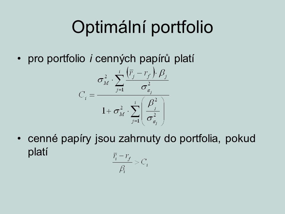 Optimální portfolio pro portfolio i cenných papírů platí