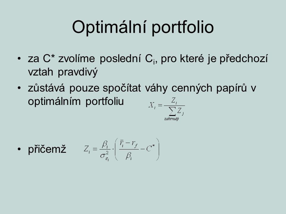 Optimální portfolio za C* zvolíme poslední Ci, pro které je předchozí vztah pravdivý.