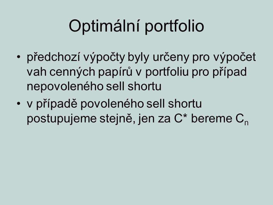 Optimální portfolio předchozí výpočty byly určeny pro výpočet vah cenných papírů v portfoliu pro případ nepovoleného sell shortu.