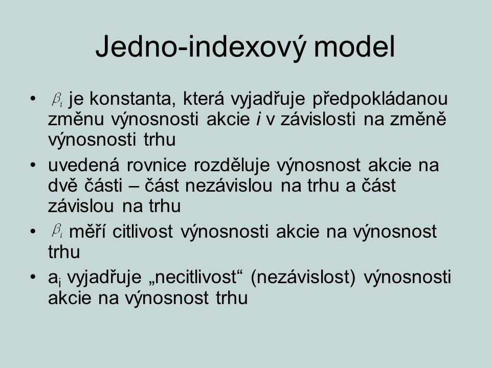 Jedno-indexový model je konstanta, která vyjadřuje předpokládanou změnu výnosnosti akcie i v závislosti na změně výnosnosti trhu.