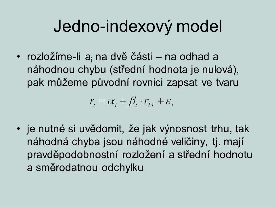 Jedno-indexový model rozložíme-li ai na dvě části – na odhad a náhodnou chybu (střední hodnota je nulová), pak můžeme původní rovnici zapsat ve tvaru.