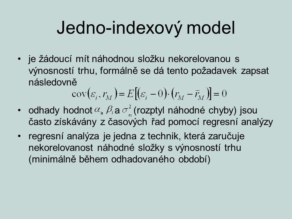 Jedno-indexový model je žádoucí mít náhodnou složku nekorelovanou s výnosností trhu, formálně se dá tento požadavek zapsat následovně.