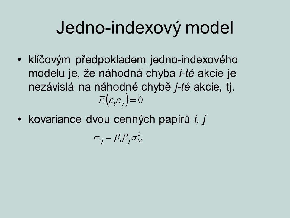 Jedno-indexový model klíčovým předpokladem jedno-indexového modelu je, že náhodná chyba i-té akcie je nezávislá na náhodné chybě j-té akcie, tj.