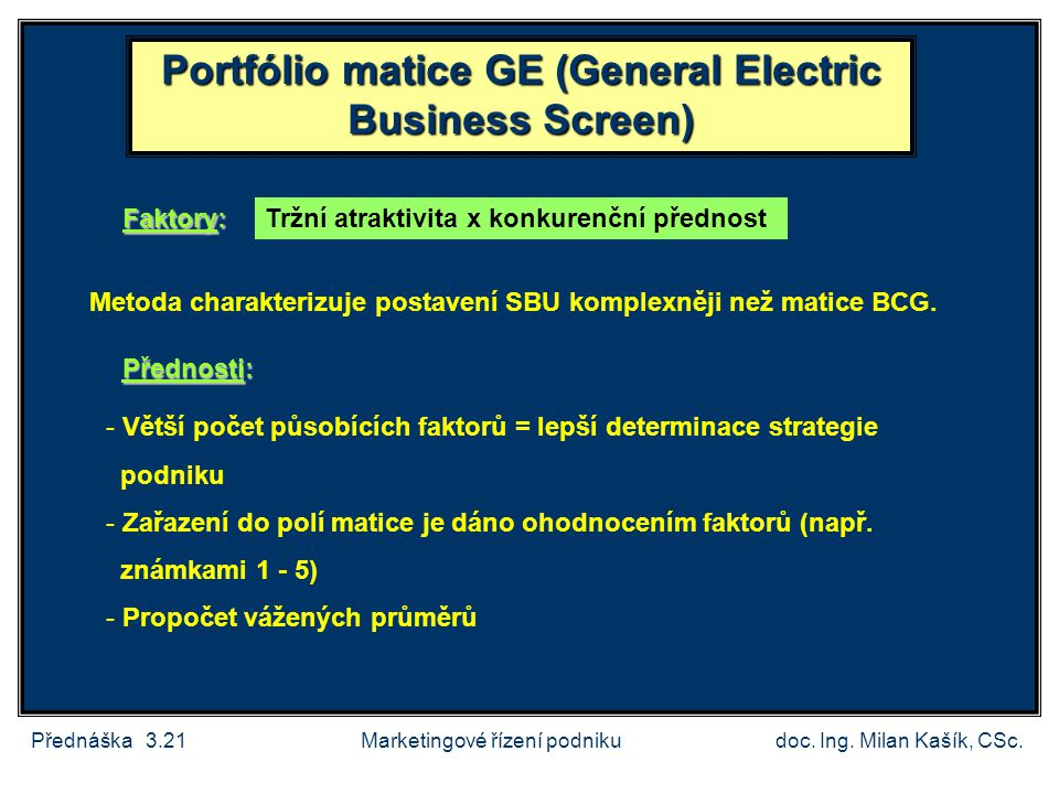 Portfólio matice GE (General Electric Business Screen)