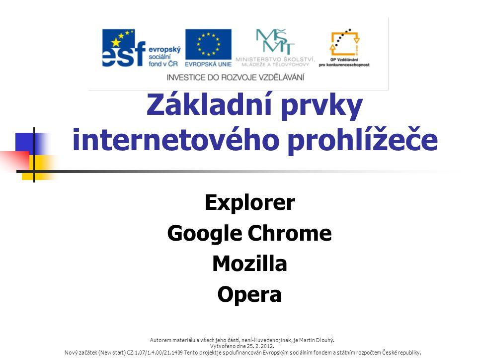 Základní prvky internetového prohlížeče