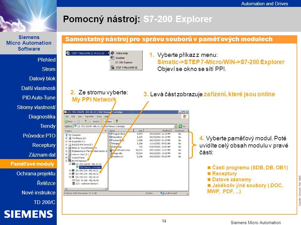 Pomocný nástroj: S7-200 Explorer