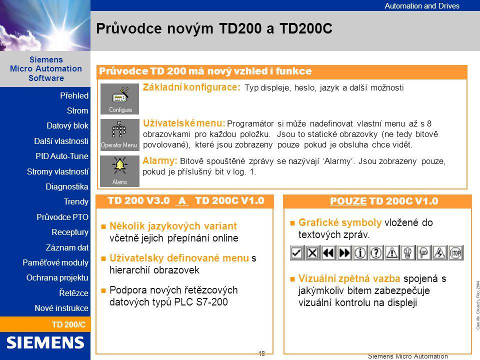 Průvodce novým TD200 a TD200C Průvodce TD 200 má nový vzhled i funkce. Základní konfigurace: Typ displeje, heslo, jazyk a další možnosti.