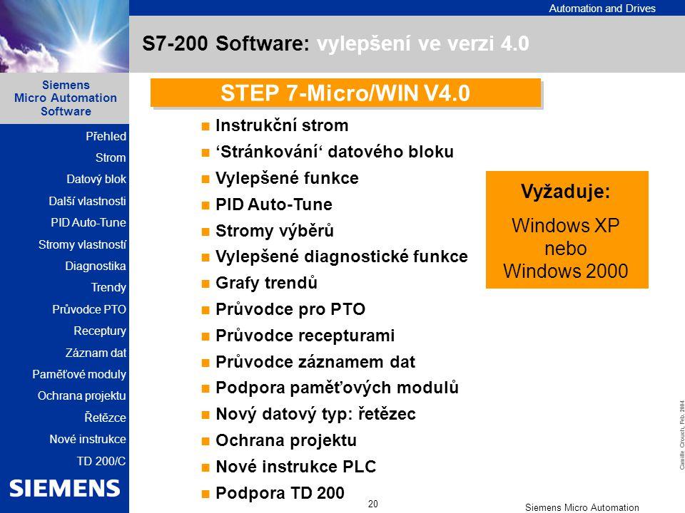 S7-200 Software: vylepšení ve verzi 4.0