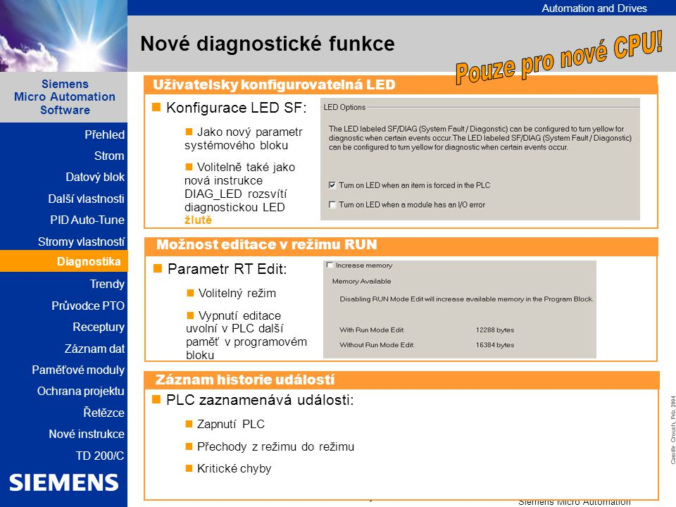 Nové diagnostické funkce