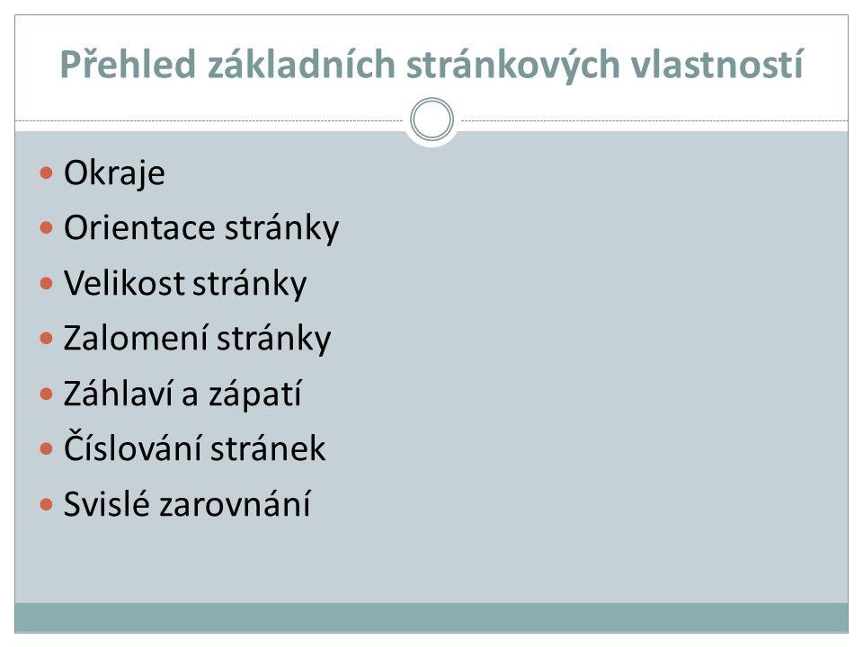 Přehled základních stránkových vlastností