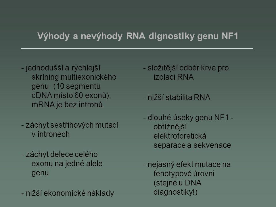 Výhody a nevýhody RNA dignostiky genu NF1