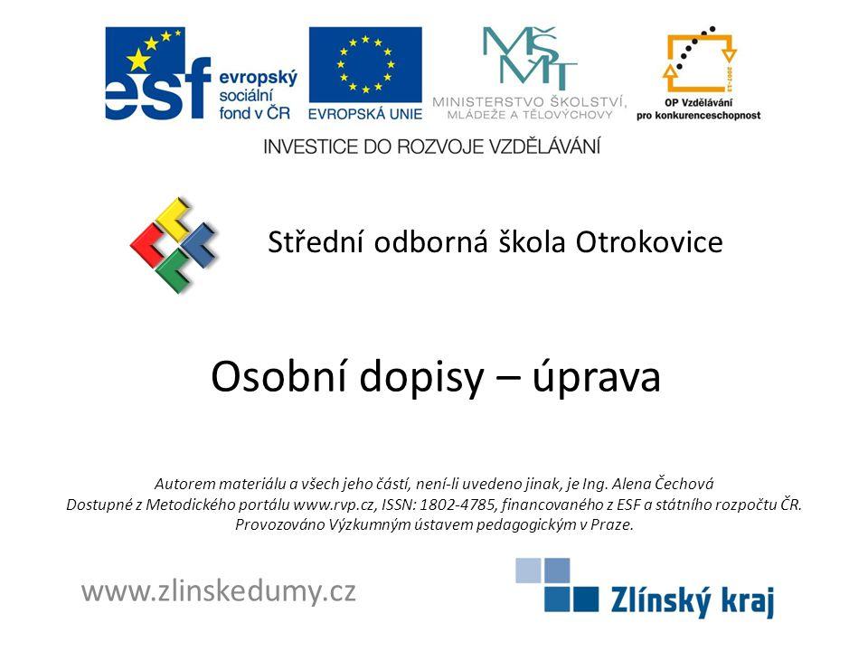 Osobní dopisy – úprava Střední odborná škola Otrokovice