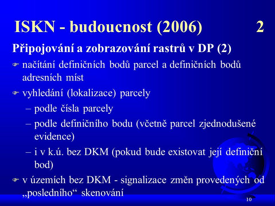 ISKN - budoucnost (2006) 2 Připojování a zobrazování rastrů v DP (2)