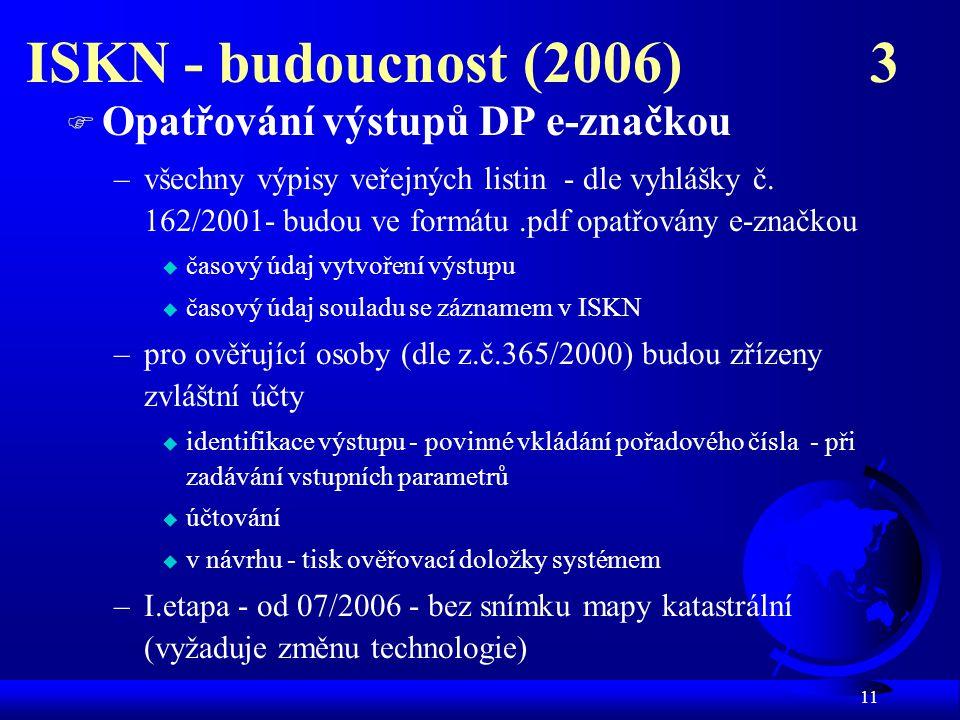 ISKN - budoucnost (2006) 3 Opatřování výstupů DP e-značkou