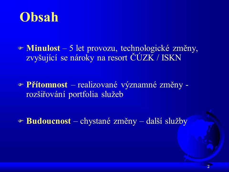 Obsah Minulost – 5 let provozu, technologické změny, zvyšující se nároky na resort ČÚZK / ISKN.