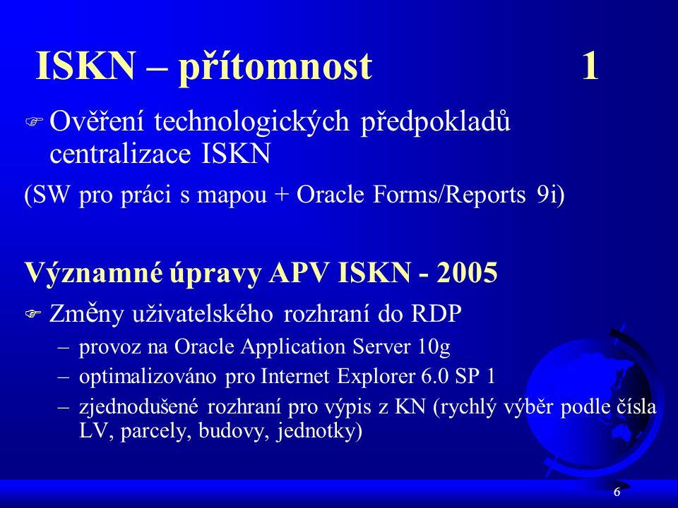 ISKN – přítomnost 1 Ověření technologických předpokladů centralizace ISKN. (SW pro práci s mapou + Oracle Forms/Reports 9i)