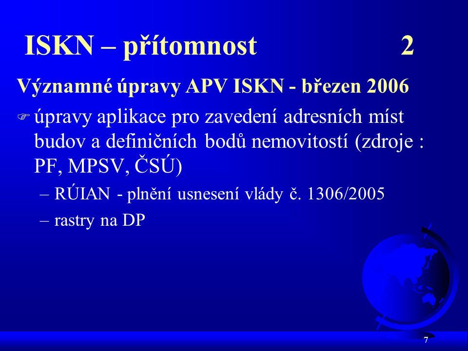 ISKN – přítomnost 2 Významné úpravy APV ISKN - březen 2006