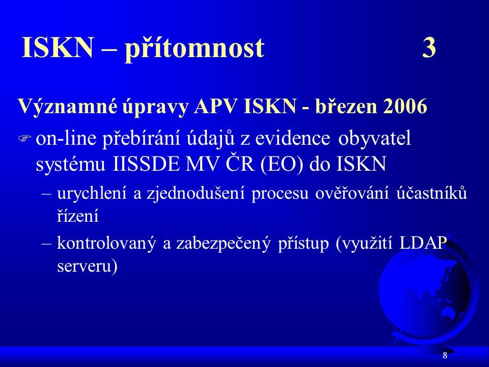 ISKN – přítomnost 3 Významné úpravy APV ISKN - březen 2006