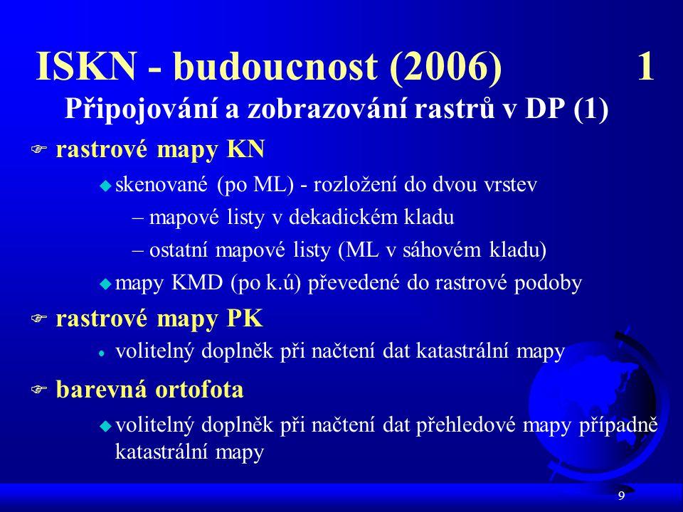 ISKN - budoucnost (2006) 1 Připojování a zobrazování rastrů v DP (1)