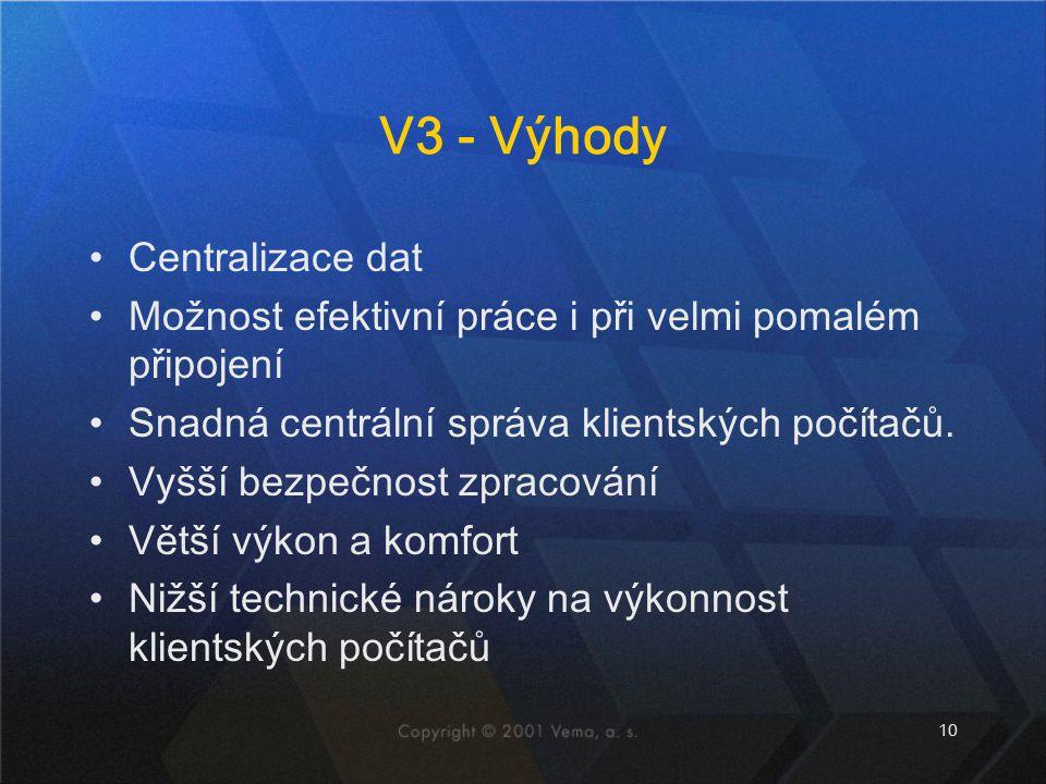 V3 - Výhody Centralizace dat