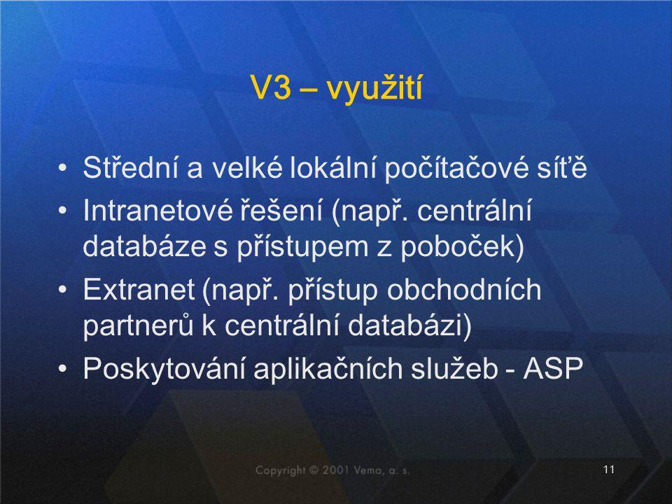 V3 – využití Střední a velké lokální počítačové síťě