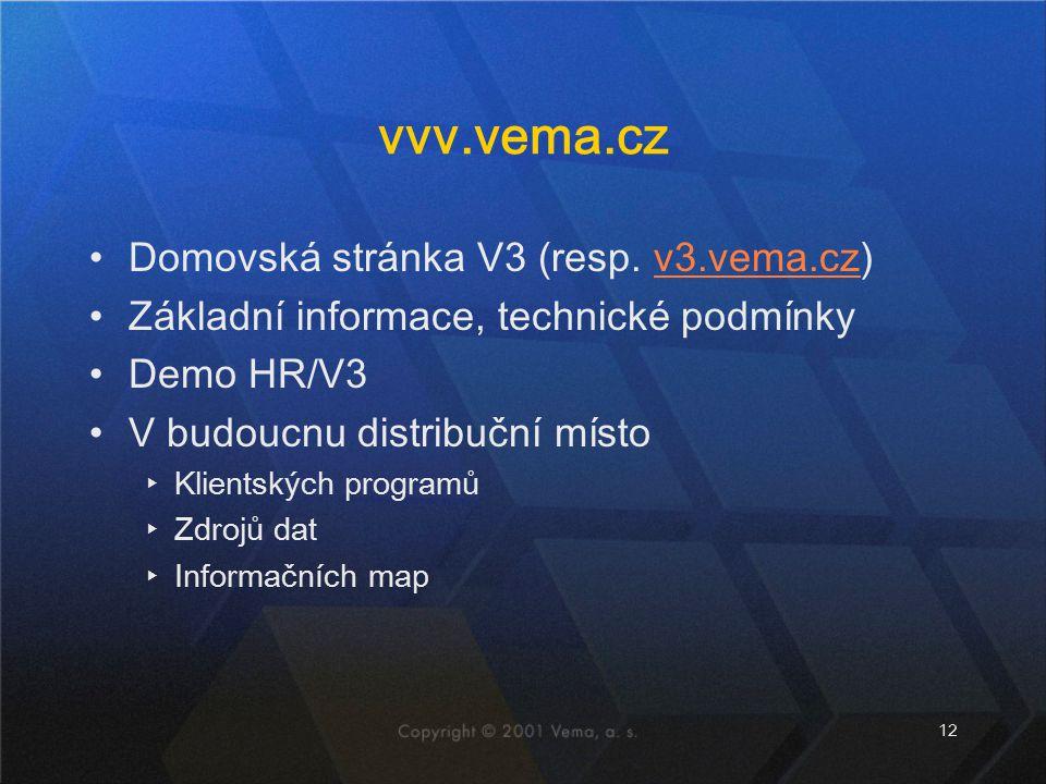 vvv.vema.cz Domovská stránka V3 (resp. v3.vema.cz)