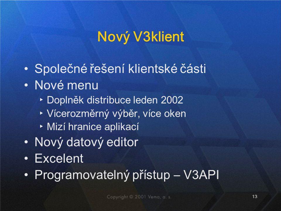 Nový V3klient Společné řešení klientské části Nové menu