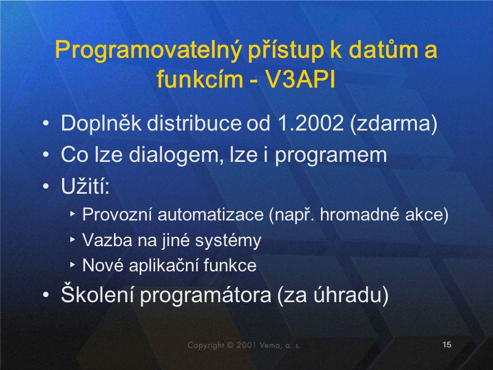 Programovatelný přístup k datům a funkcím - V3API
