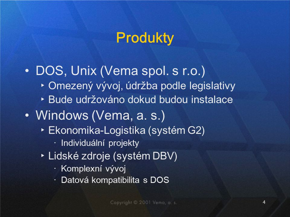 Produkty DOS, Unix (Vema spol. s r.o.) Windows (Vema, a. s.)