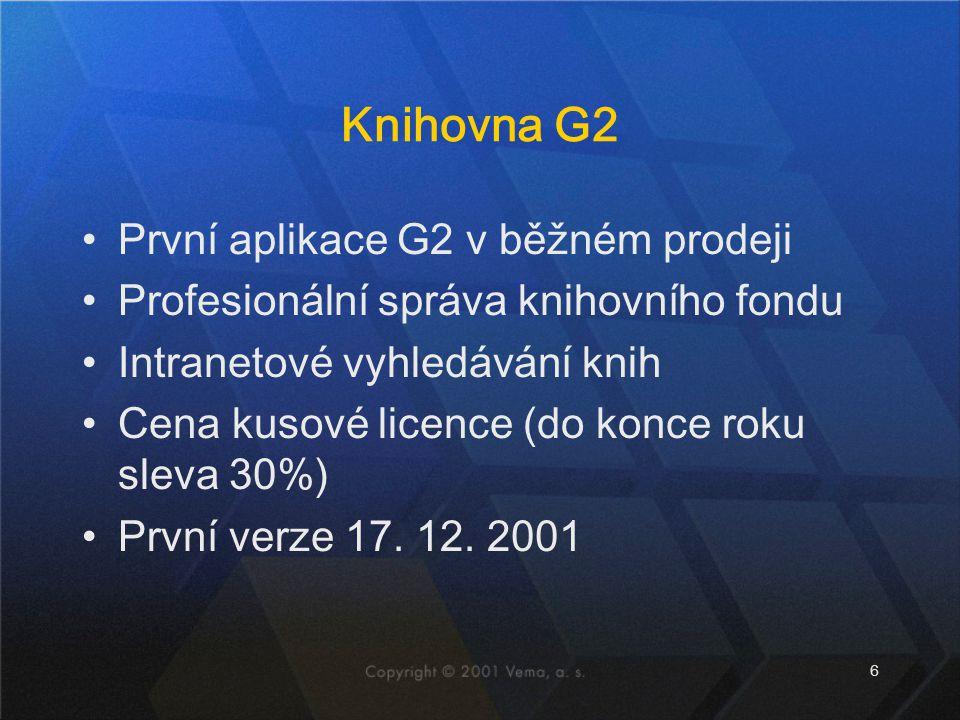 Knihovna G2 První aplikace G2 v běžném prodeji