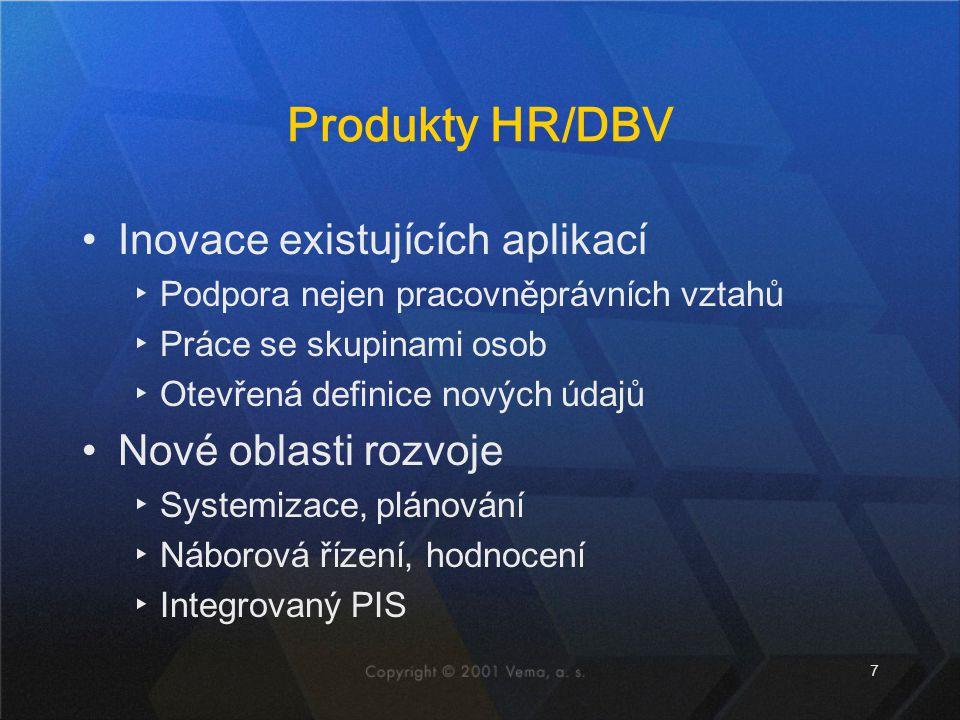 Produkty HR/DBV Inovace existujících aplikací Nové oblasti rozvoje