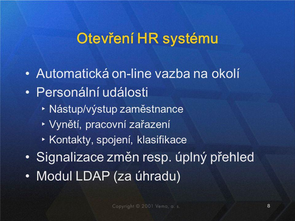 Otevření HR systému Automatická on-line vazba na okolí