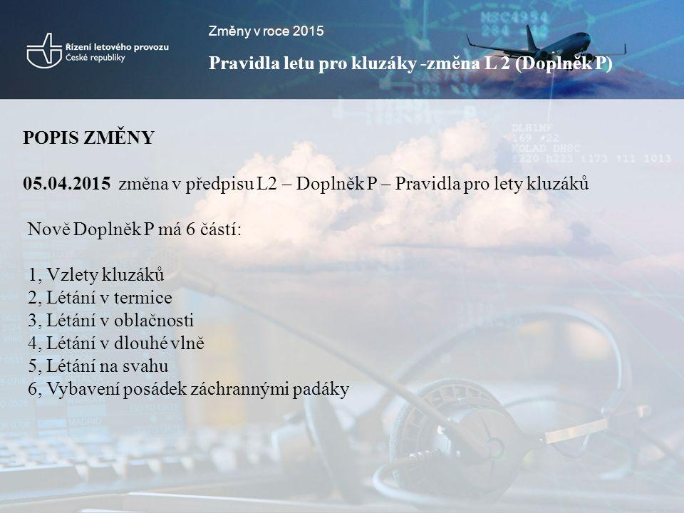 Pravidla letu pro kluzáky -změna L 2 (Doplněk P)